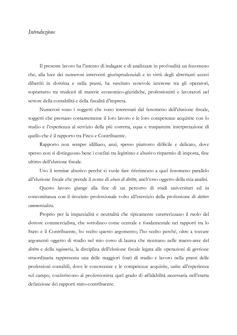 Anteprima della tesi: Elusione fiscale e abuso del diritto nelle operazioni straordinarie d'impresa, Pagina 2
