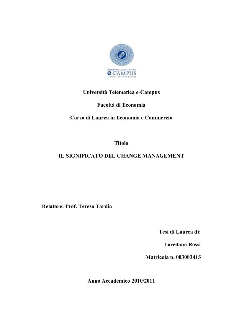 Anteprima della tesi: Il Significato del Change Management, Pagina 1
