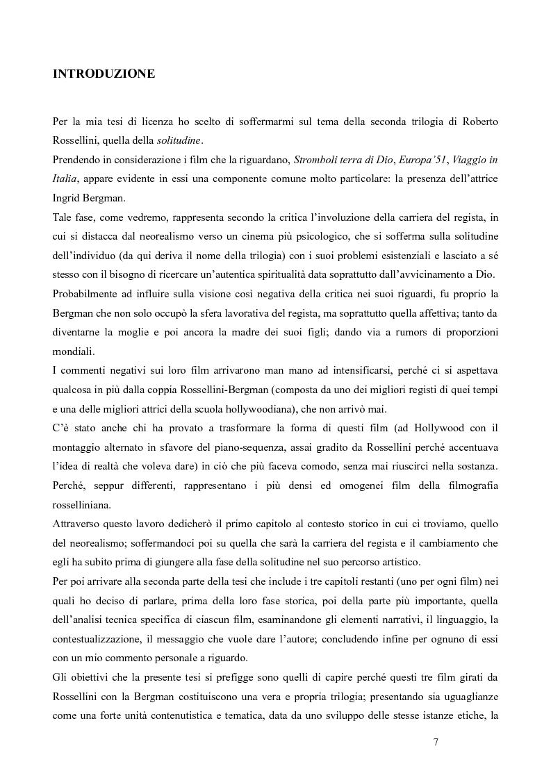 Anteprima della tesi: La trilogia della solitudine nella filmografia di Roberto Rossellini, Pagina 2