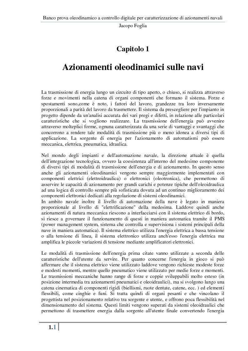 Anteprima della tesi: Progetto e realizzazione di un banco prova oleodinamico a controllo digitale per caratterizzazione di azionamenti navali, Pagina 4