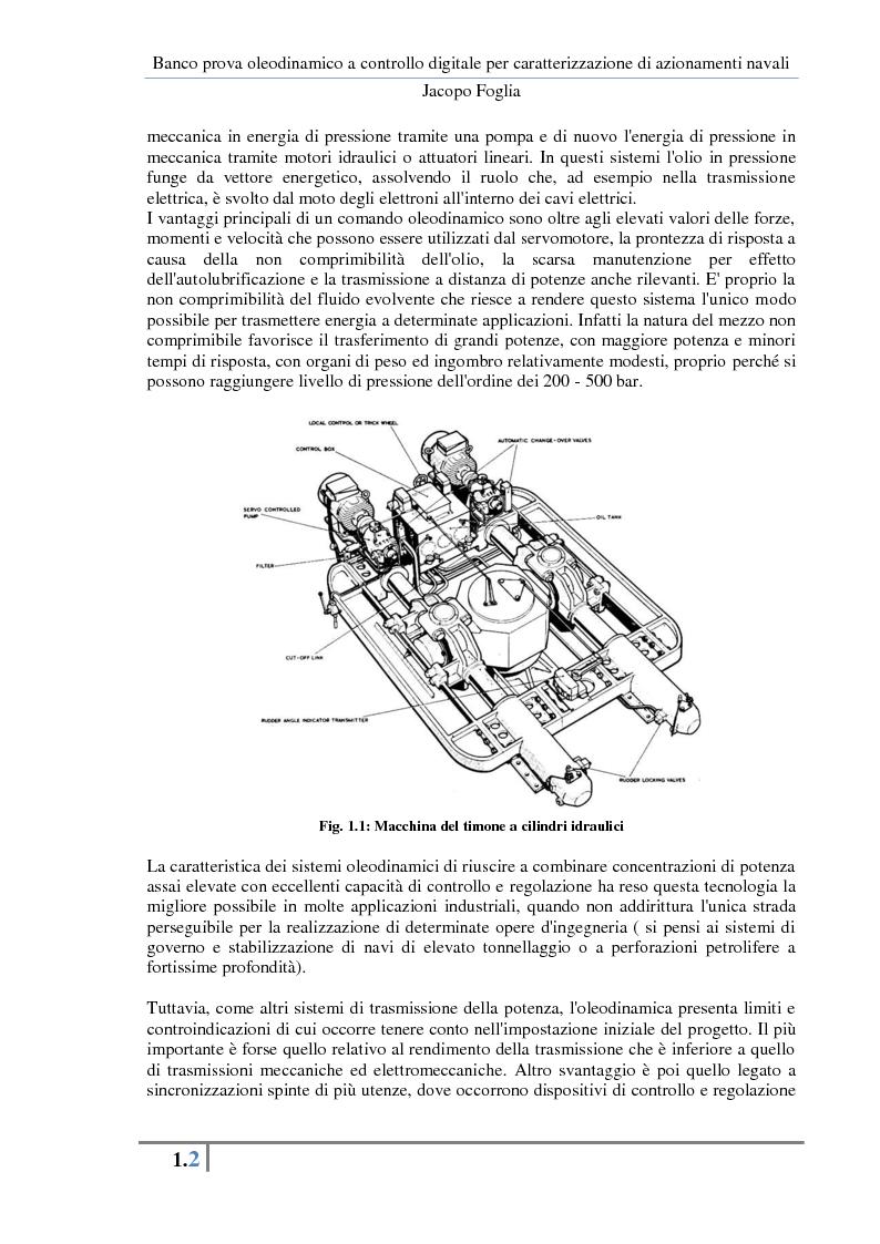 Anteprima della tesi: Progetto e realizzazione di un banco prova oleodinamico a controllo digitale per caratterizzazione di azionamenti navali, Pagina 5
