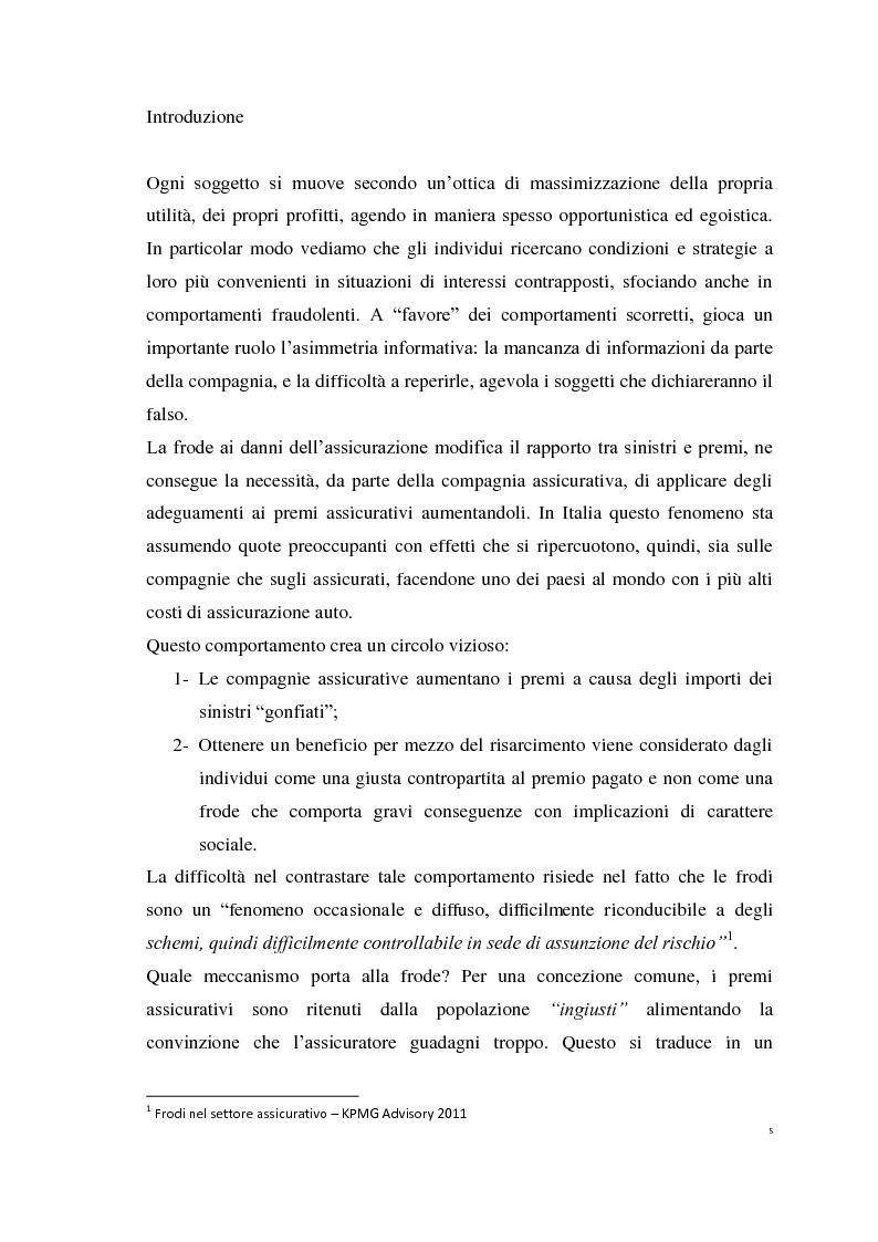 Anteprima della tesi: Le Polizze RCAuto; Profili di rischio e analisi del fenomeno della fraudolenza, Pagina 2