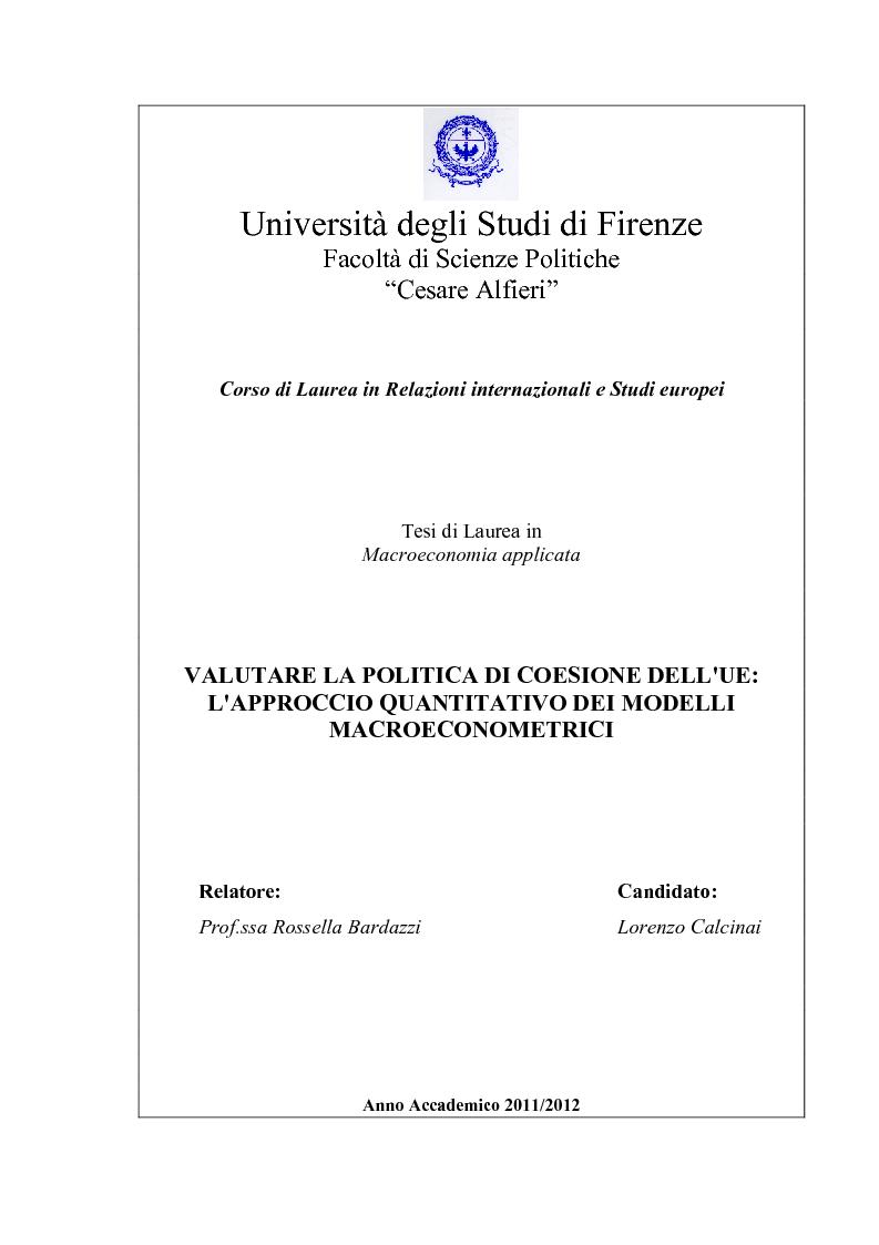 Anteprima della tesi: Valutare la politica di coesione dell'UE: l'approccio quantitativo dei modelli macroeconomici, Pagina 1