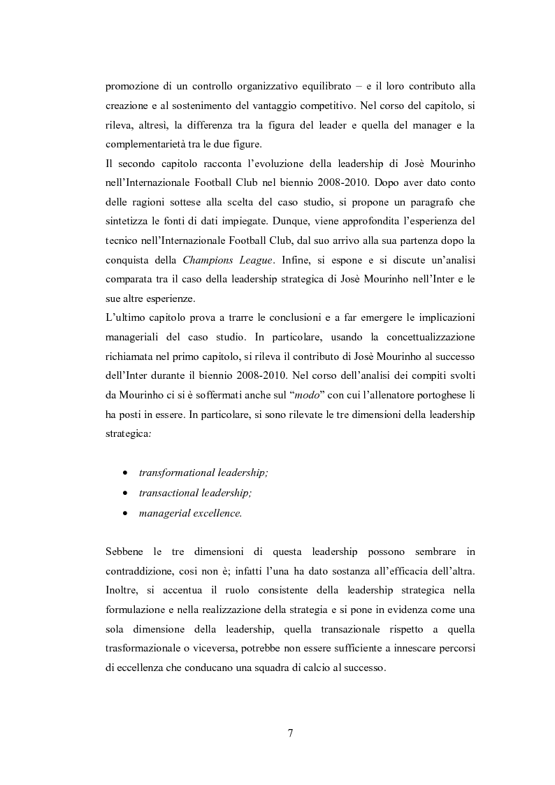 Anteprima della tesi: Leadership strategica e vantaggio competitivo: Josè Mourinho all'Internazionale Football Club, Pagina 3