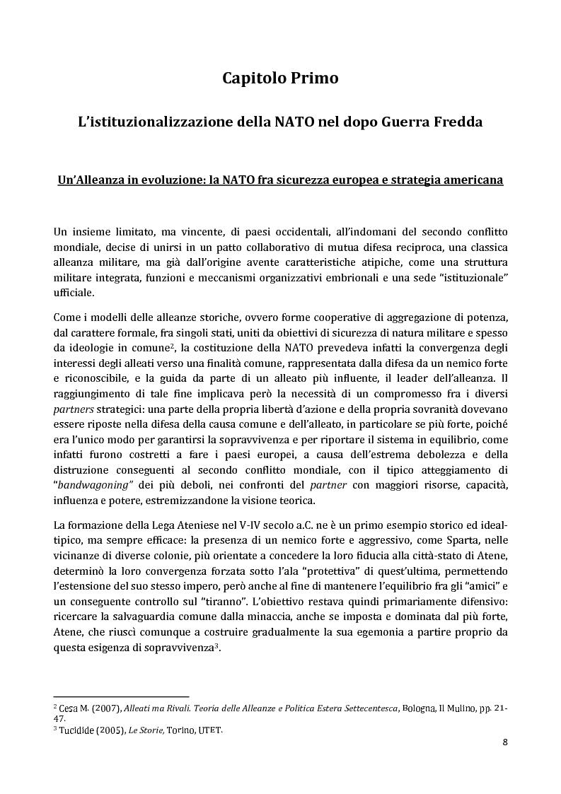 Anteprima della tesi: I Partnership Frameworks dell'Alleanza Atlantica: Istituzionalismo e Neorealismo a confronto, Pagina 7