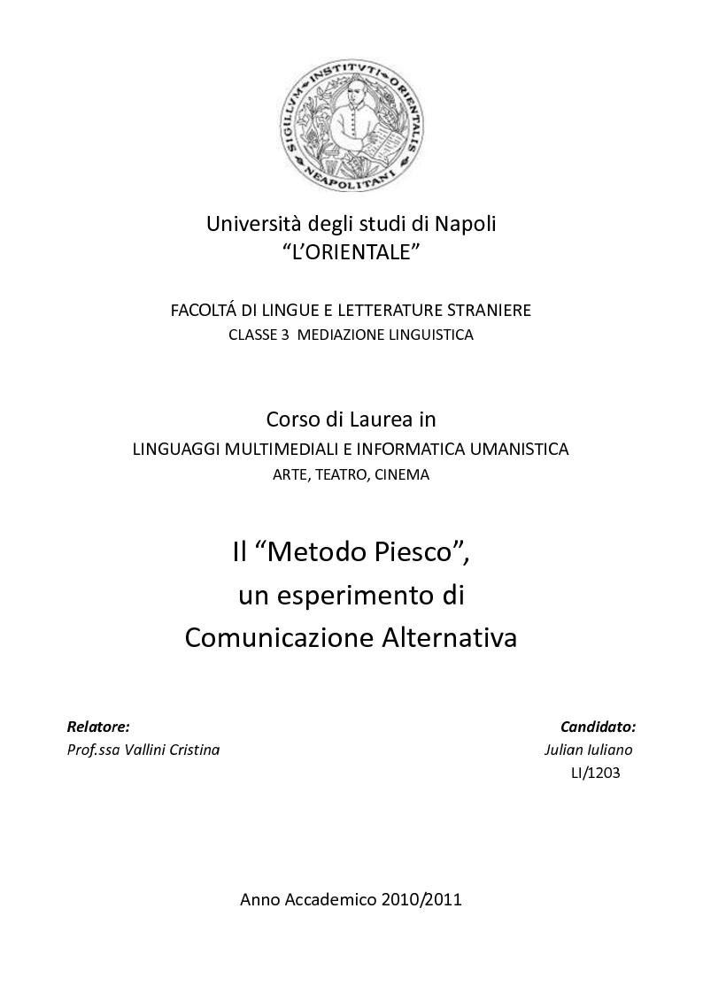 Anteprima della tesi: Il ''Metodo Piesco'', un esperimento di Comunicazione Alternativa, Pagina 1