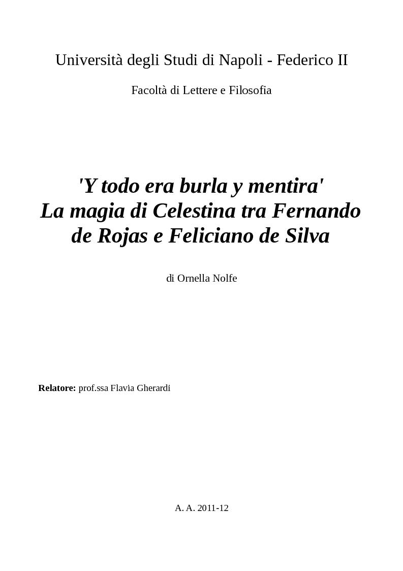 Anteprima della tesi: ''Y todo era burla y mentira''; la magia di Celestina tra Fernando de Rojas e Feliciano de Silva, Pagina 1