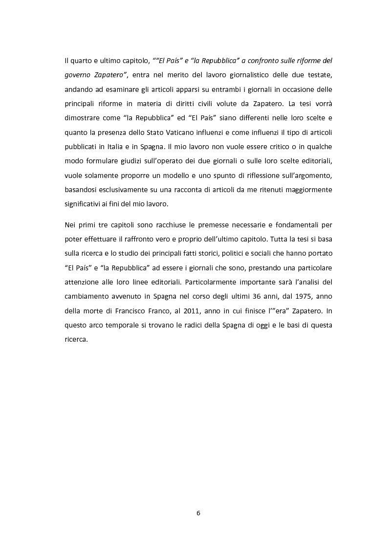 Anteprima della tesi: Linee editoriali a confronto. La Spagna di Zapatero tra ''El Paìs'' e ''la Repubblica'', Pagina 5