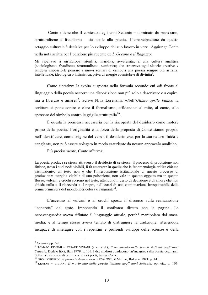 Anteprima della tesi: Profilo critico di Giuseppe Conte, Pagina 9