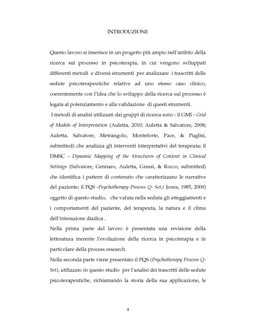 Anteprima della tesi: La ricerca sul processo in psicoterapia: il cambiamento del paziente attraverso lo Psychotherapy Process Q-Set , Pagina 2