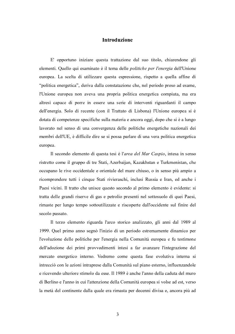 Anteprima della tesi: Le politiche per l'energia dell'Unione europea e le relazioni con l'area del Mar Caspio, 1989-1999., Pagina 2