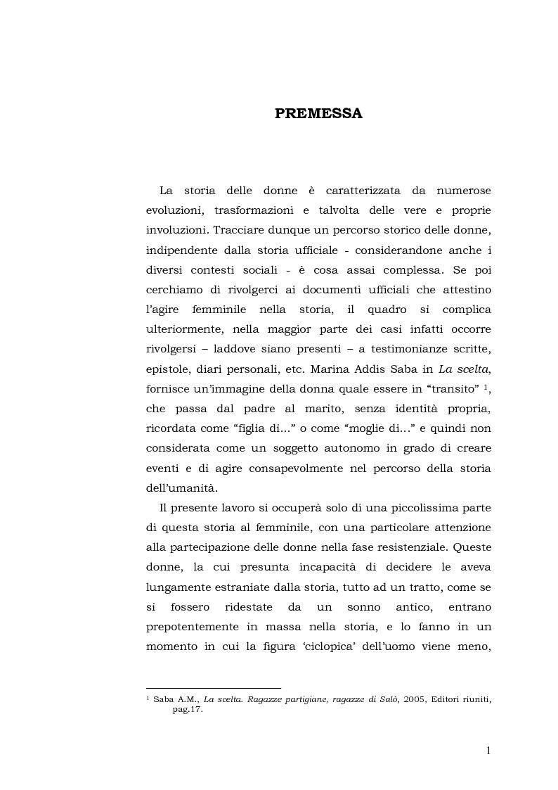 Anteprima della tesi: Donne: tra Fascismo, Guerra e Resistenza (1925 - 1945), Pagina 2