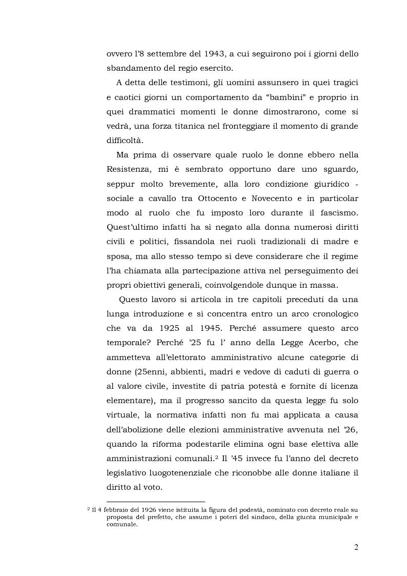 Anteprima della tesi: Donne: tra Fascismo, Guerra e Resistenza (1925 - 1945), Pagina 3