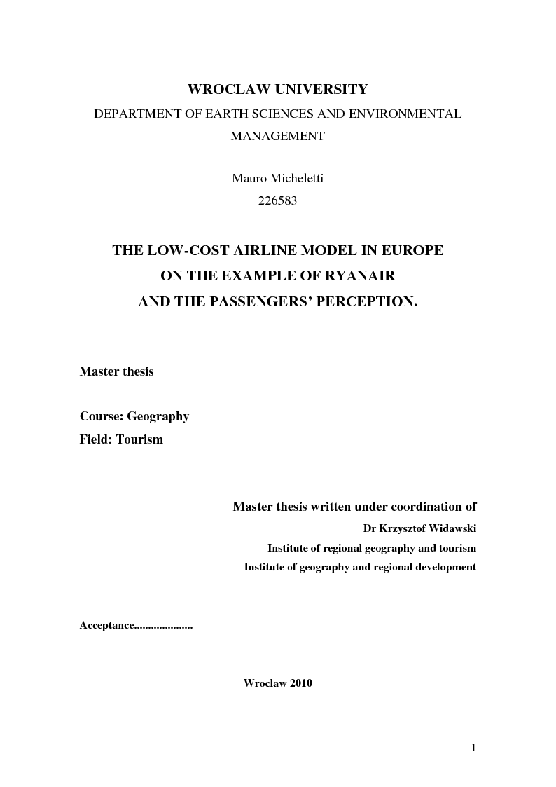 Anteprima della tesi: The low-cost airline model in Europe on the example of Ryanair and the passengers' perception, Pagina 1