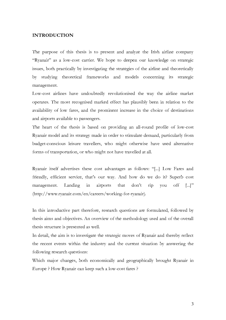 Anteprima della tesi: The low-cost airline model in Europe on the example of Ryanair and the passengers' perception, Pagina 2
