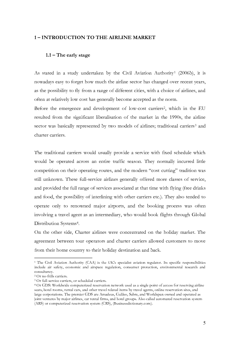 Anteprima della tesi: The low-cost airline model in Europe on the example of Ryanair and the passengers' perception, Pagina 4