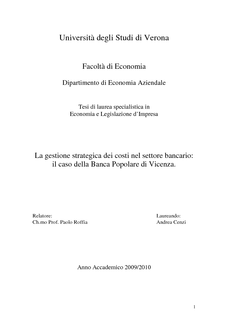 Anteprima della tesi: La gestione strategica dei costi nel settore bancario: il caso della Banca Popolare di Vicenza, Pagina 1