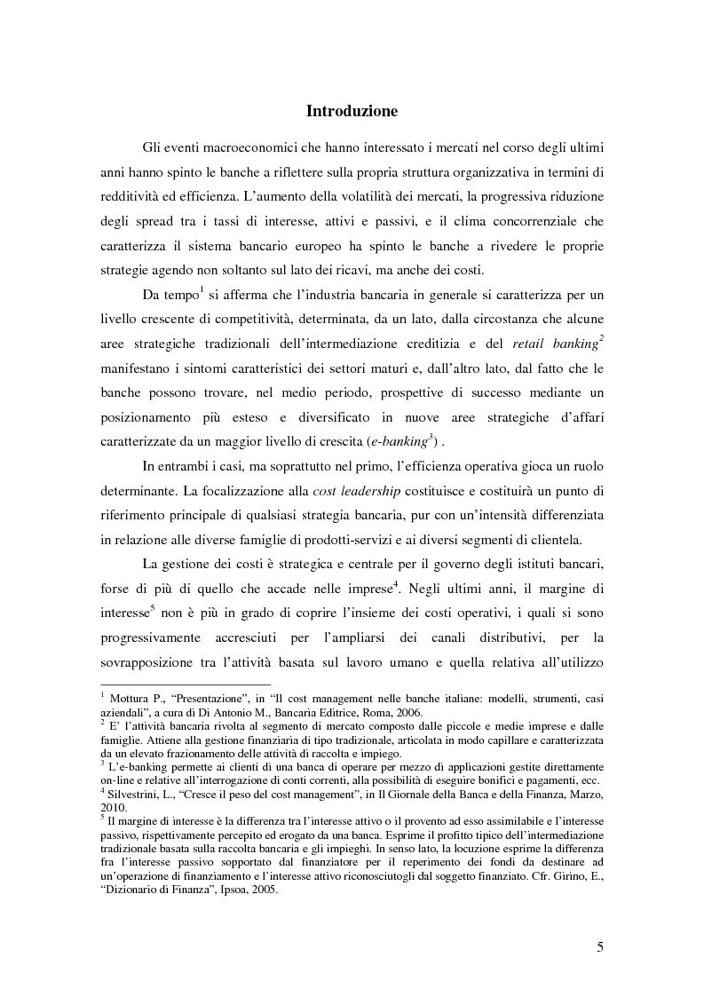 Anteprima della tesi: La gestione strategica dei costi nel settore bancario: il caso della Banca Popolare di Vicenza, Pagina 2