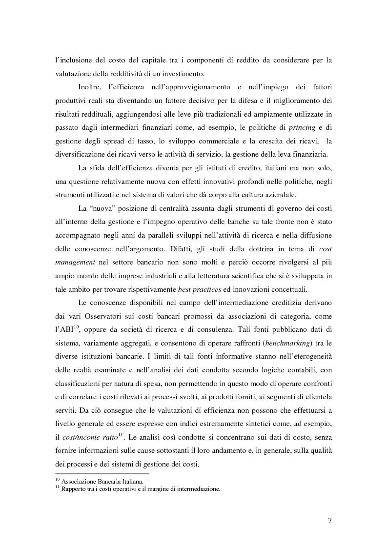 Anteprima della tesi: La gestione strategica dei costi nel settore bancario: il caso della Banca Popolare di Vicenza, Pagina 4