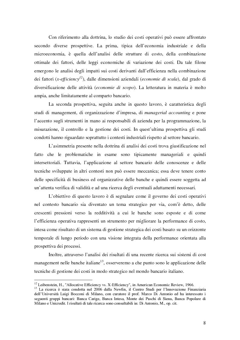 Anteprima della tesi: La gestione strategica dei costi nel settore bancario: il caso della Banca Popolare di Vicenza, Pagina 5