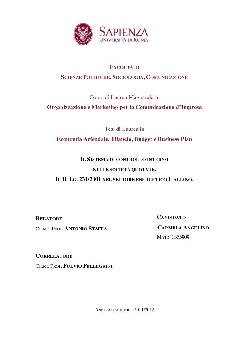 Anteprima della tesi: Il Sistema di controllo interno nelle società quotate. Il D. Lgs. 231/2001 nel settore energetico Italiano., Pagina 1