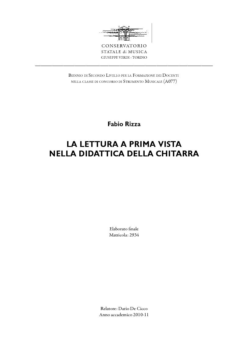 Anteprima della tesi: La lettura a prima vista nella didattica della chitarra, Pagina 1