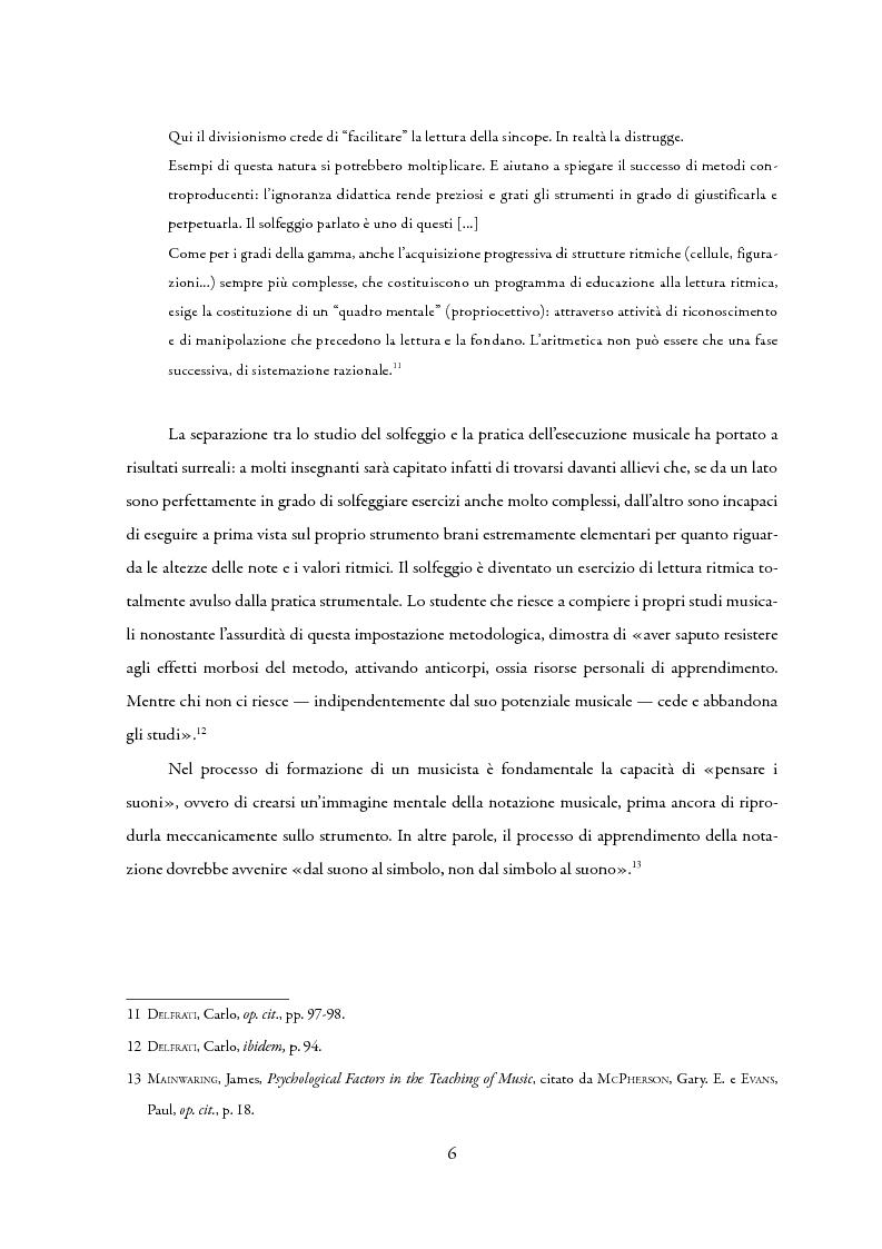 Anteprima della tesi: La lettura a prima vista nella didattica della chitarra, Pagina 7