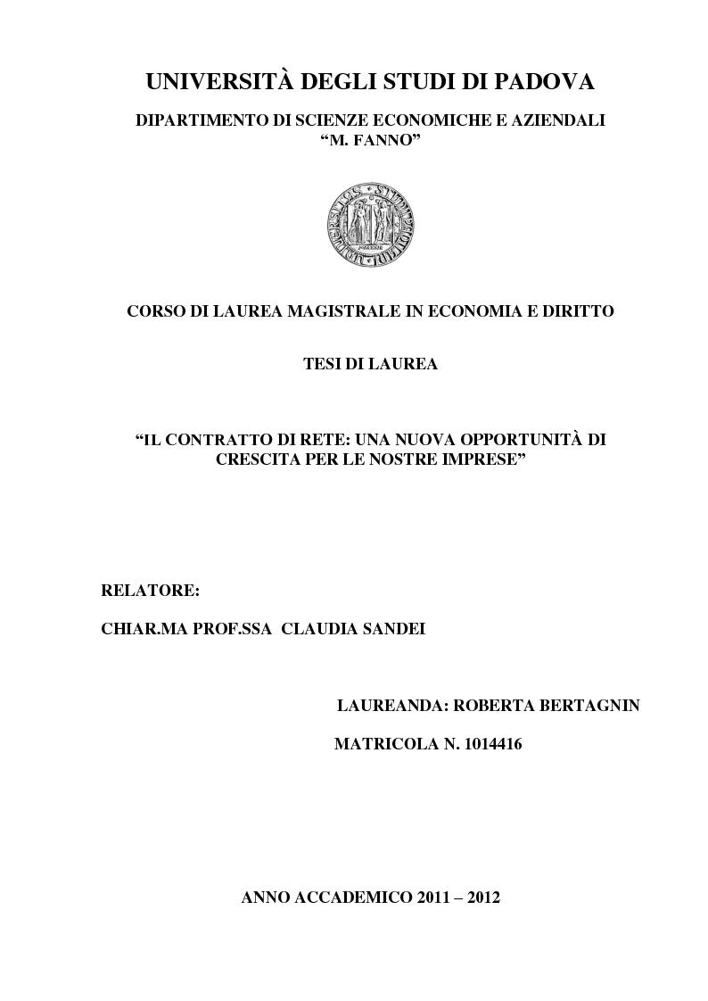 Anteprima della tesi: Il contratto di Rete: una nuova opportunità di crescita per le nostre imprese, Pagina 1