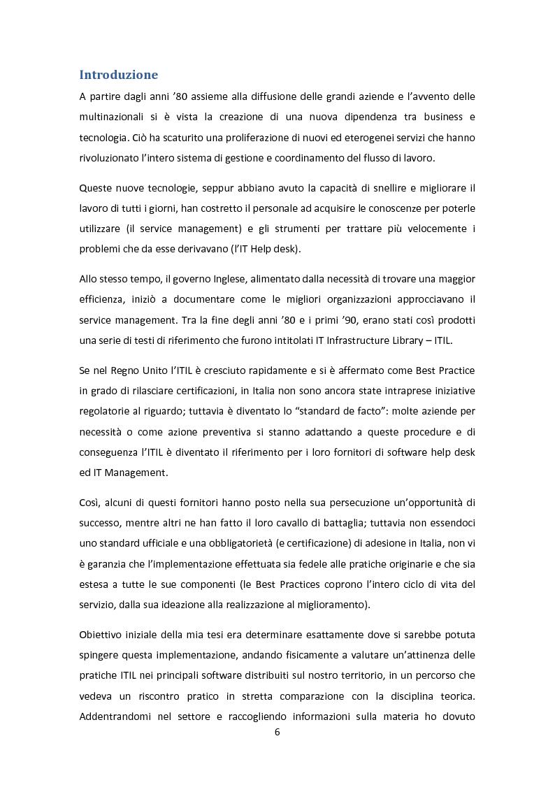 Anteprima della tesi: Il Framework ITIL: una guida all'orientamento nel contesto italiano, Pagina 2
