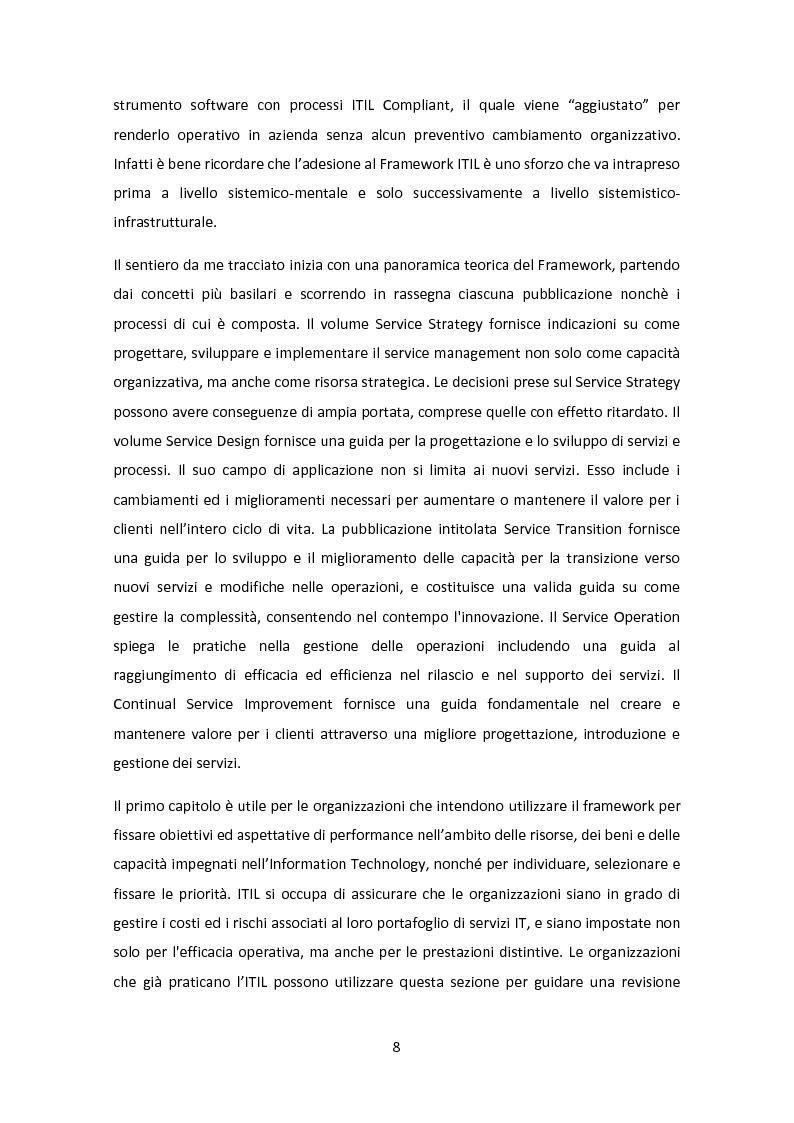 Anteprima della tesi: Il Framework ITIL: una guida all'orientamento nel contesto italiano, Pagina 4