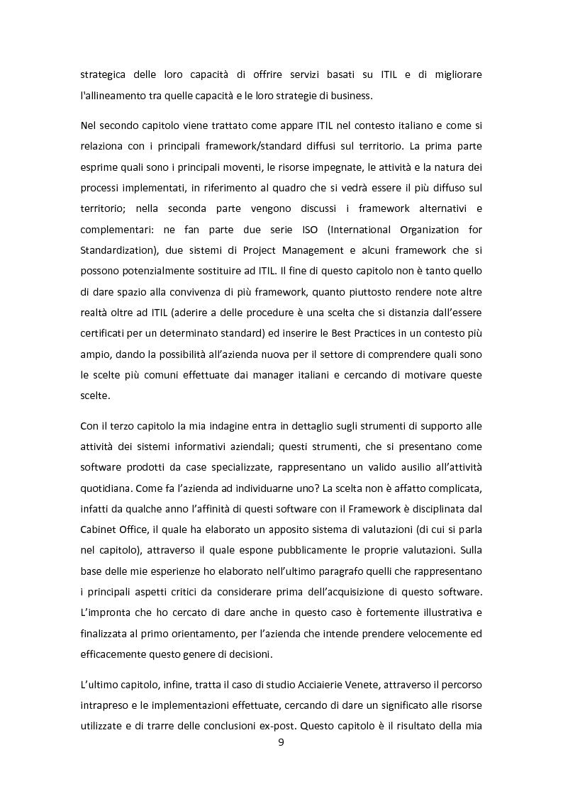 Anteprima della tesi: Il Framework ITIL: una guida all'orientamento nel contesto italiano, Pagina 5