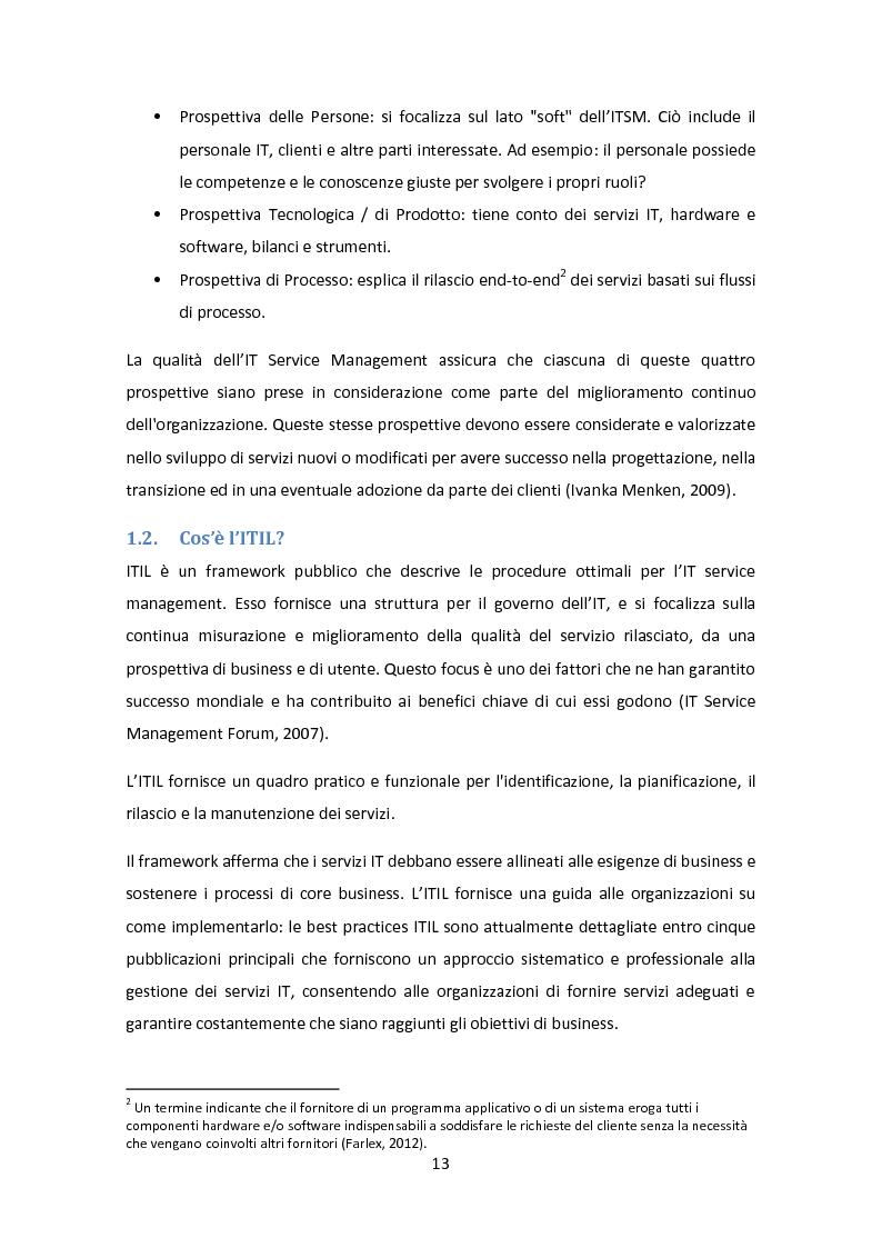 Anteprima della tesi: Il Framework ITIL: una guida all'orientamento nel contesto italiano, Pagina 9