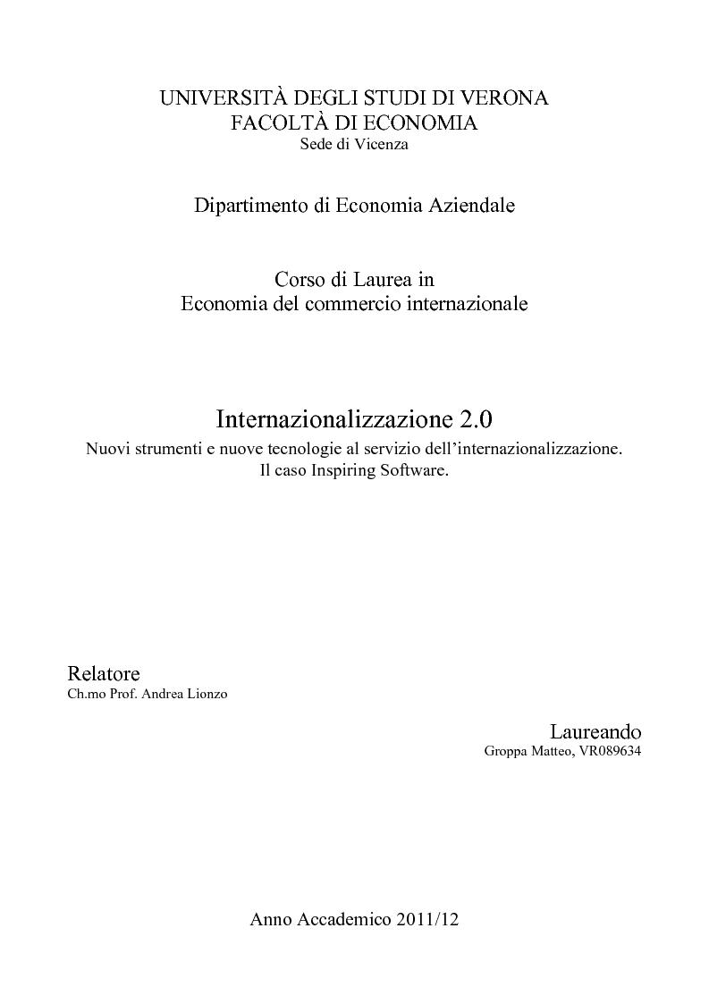 Anteprima della tesi: Internazionalizzazione 2.0: Web Marketing, Web Communication e Web Promotion al servizio delle PMI. Il caso Inspiring Software, Pagina 1