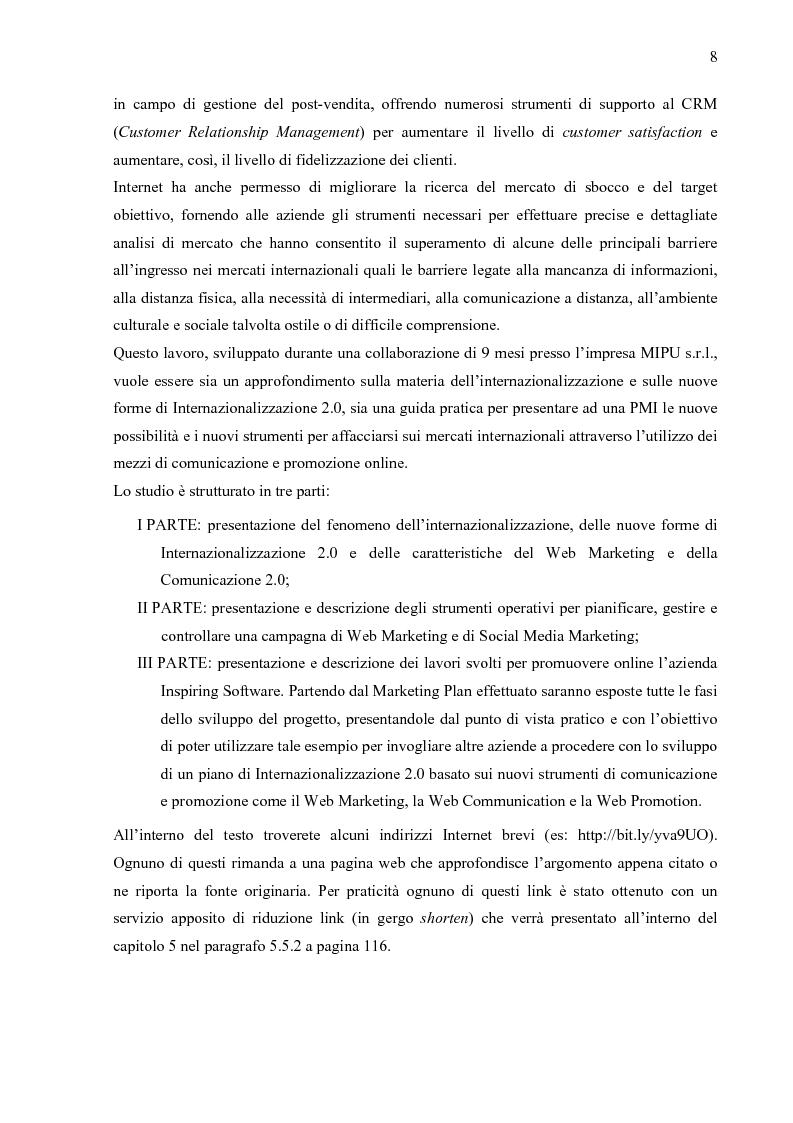Anteprima della tesi: Internazionalizzazione 2.0: Web Marketing, Web Communication e Web Promotion al servizio delle PMI. Il caso Inspiring Software, Pagina 3