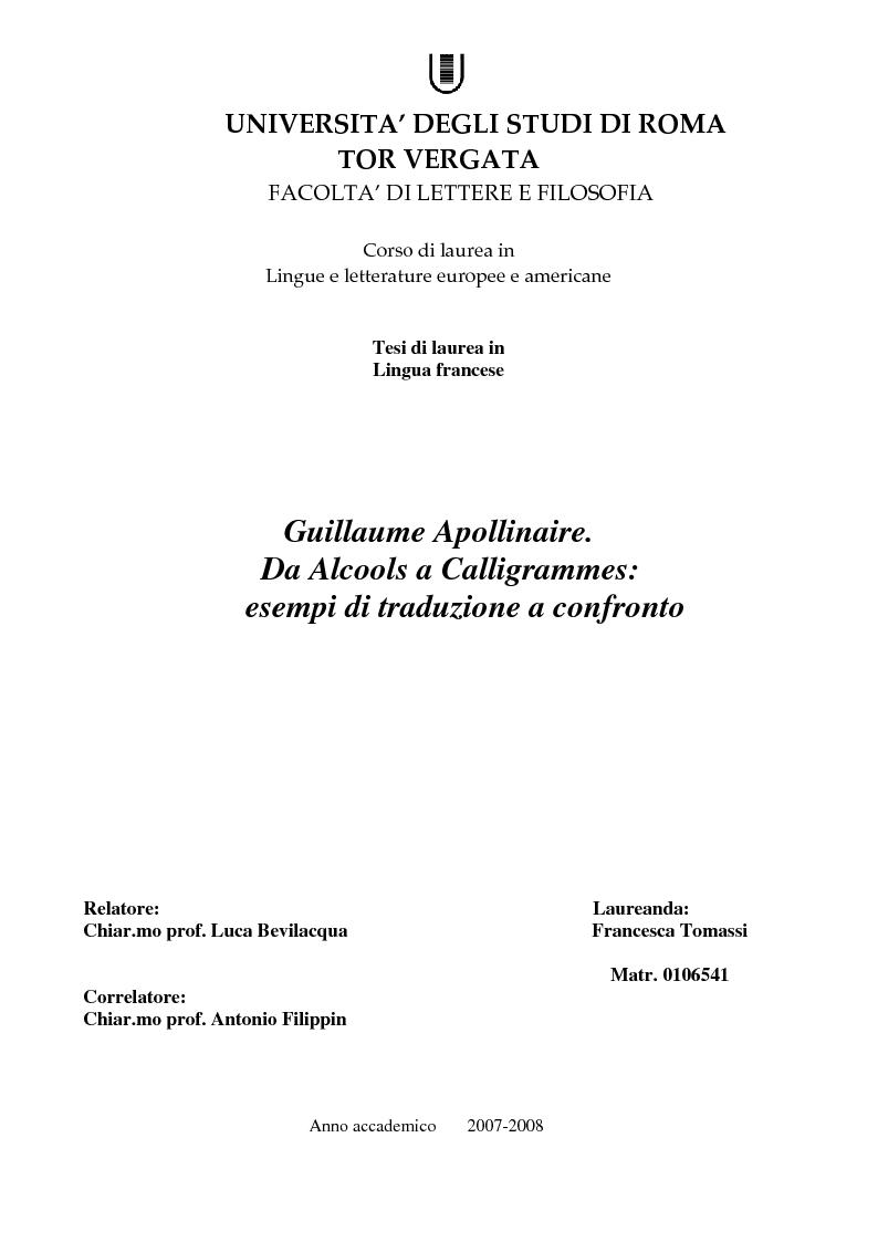 Anteprima della tesi: Guillaume Apollinaire. Da Alcools a Calligrammes: esempi di traduzione a confronto., Pagina 1