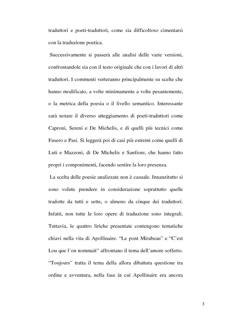 Anteprima della tesi: Guillaume Apollinaire. Da Alcools a Calligrammes: esempi di traduzione a confronto., Pagina 3