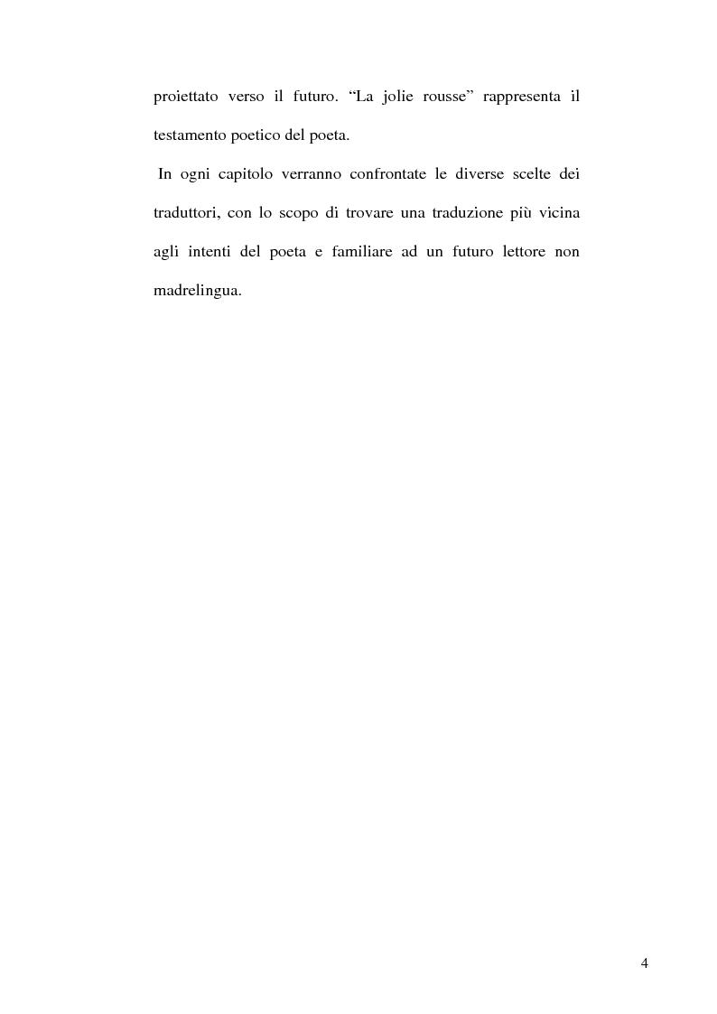 Anteprima della tesi: Guillaume Apollinaire. Da Alcools a Calligrammes: esempi di traduzione a confronto., Pagina 4