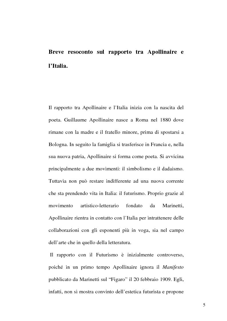 Anteprima della tesi: Guillaume Apollinaire. Da Alcools a Calligrammes: esempi di traduzione a confronto., Pagina 5