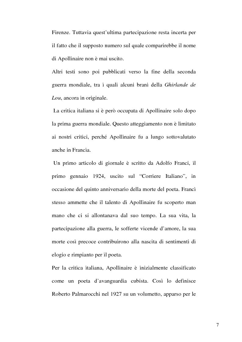 Anteprima della tesi: Guillaume Apollinaire. Da Alcools a Calligrammes: esempi di traduzione a confronto., Pagina 7
