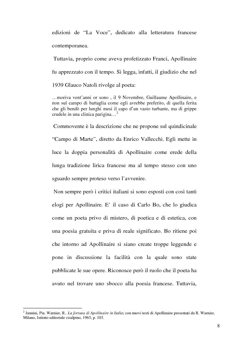 Anteprima della tesi: Guillaume Apollinaire. Da Alcools a Calligrammes: esempi di traduzione a confronto., Pagina 8