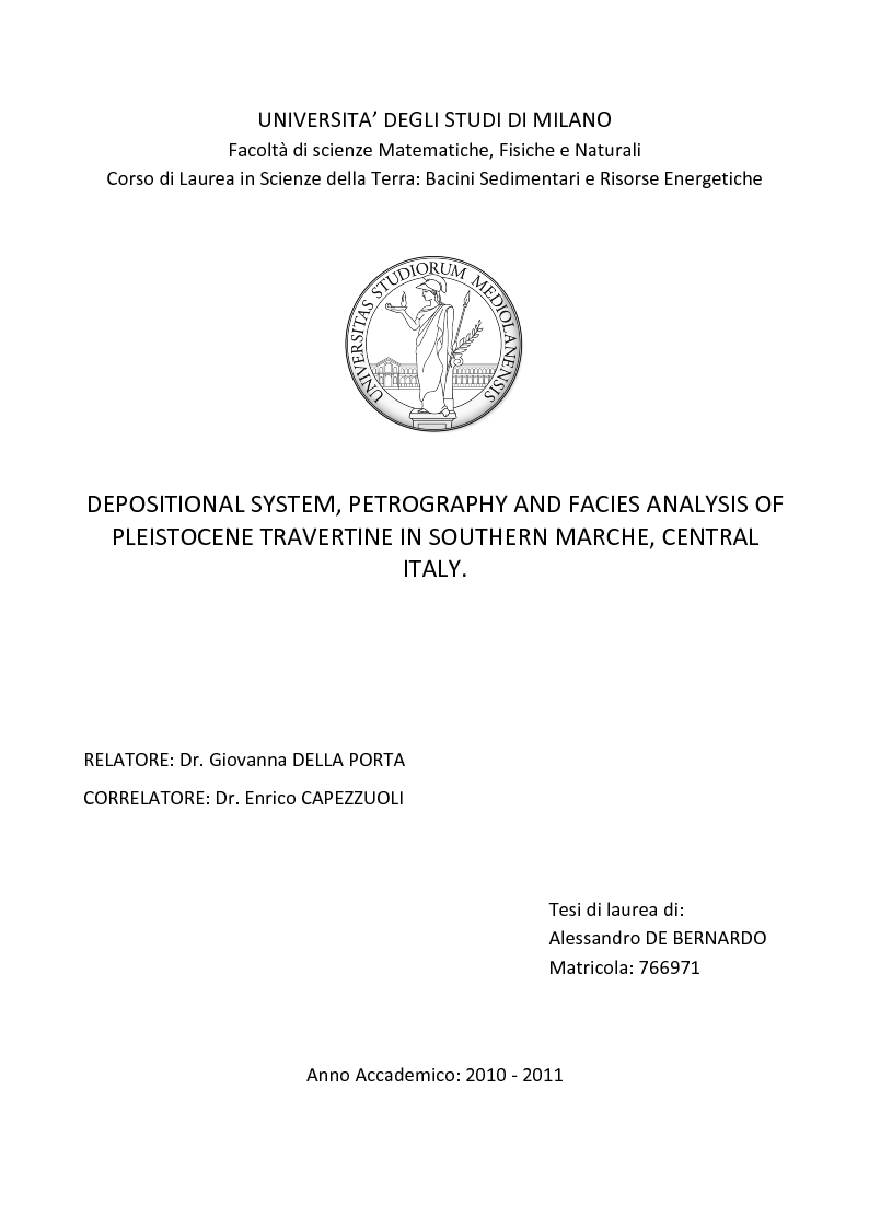 Anteprima della tesi: Depositional System, Petrography and Facies Analysis of Pleistocene Travertine in Southern MarcheE, Central Italy, Pagina 1