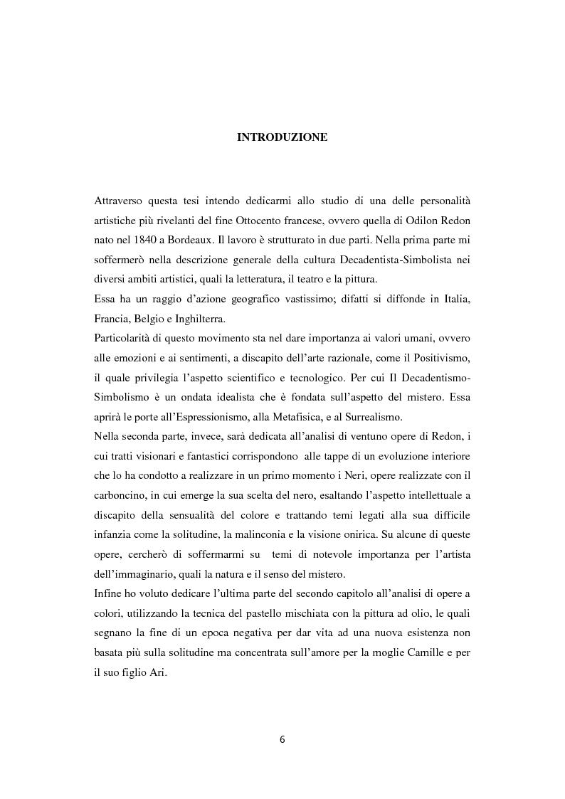 Anteprima della tesi: Odilon Redon, il principe del sogno. Un viaggio nell'inconscio attraverso le analisi di ventuno opere, Pagina 2