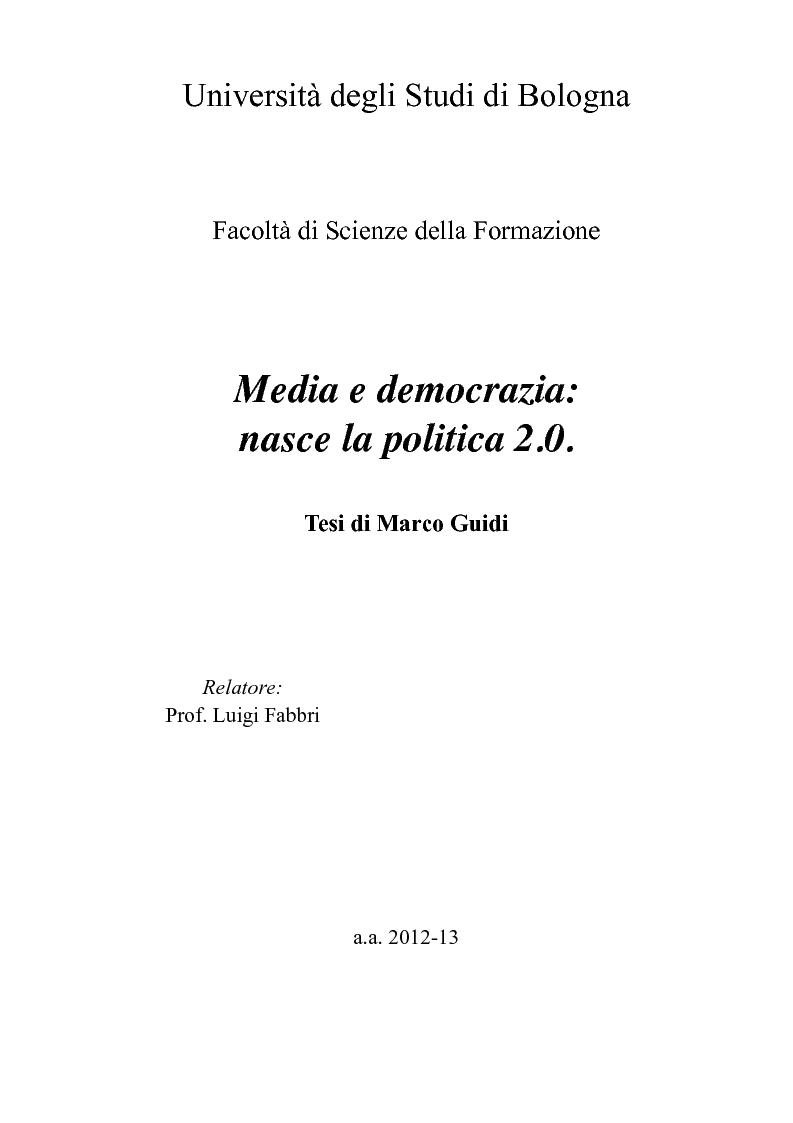 Anteprima della tesi: Media e democrazia: nasce la politica 2.0, Pagina 1