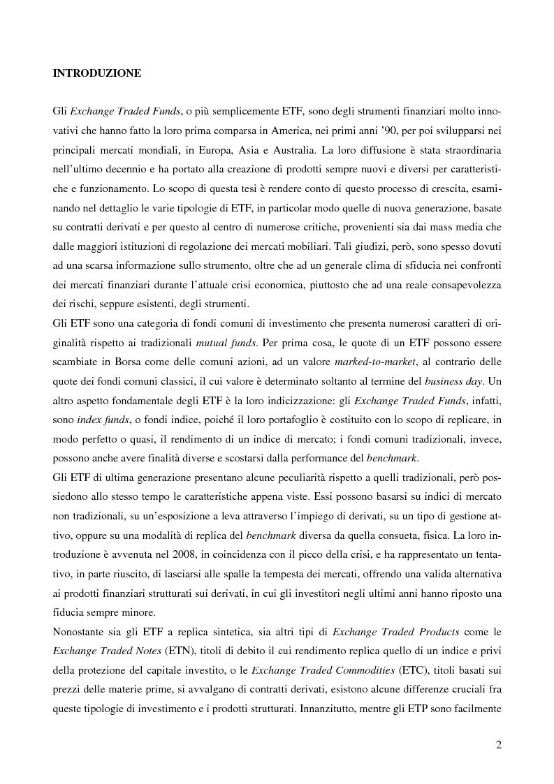 Anteprima della tesi: Gli Exchange Traded Funds come strumenti di gestione del risparmio, Pagina 2