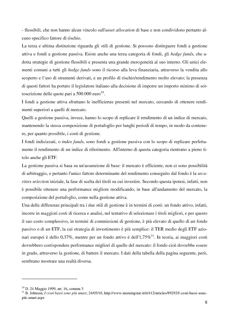Anteprima della tesi: Gli Exchange Traded Funds come strumenti di gestione del risparmio, Pagina 8