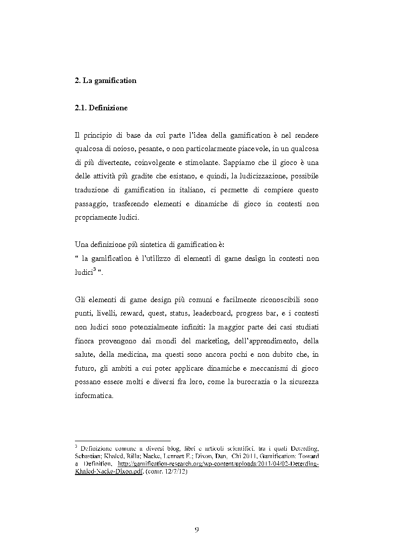 Anteprima della tesi: Gamification: applicazioni di game design in ambiti non ludici, Pagina 6