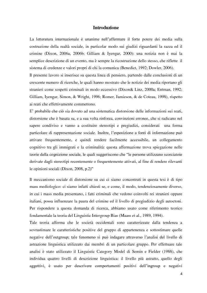 Anteprima della tesi: Mass media, pregiudizio e paura del crimine: un'indagine con il Linguistic Category Model, Pagina 2