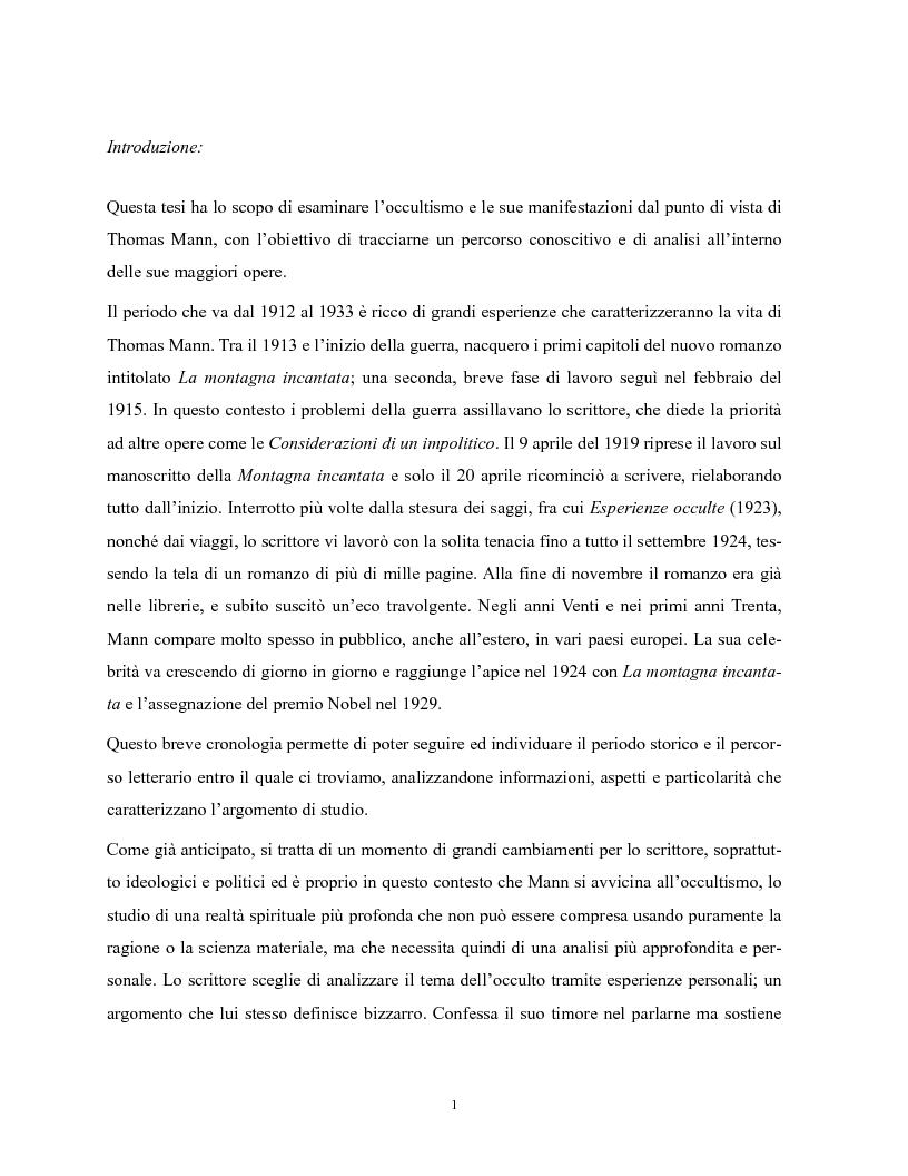Anteprima della tesi: Le manifestazioni dell'occulto nelle opere di Thomas Mann, Pagina 2