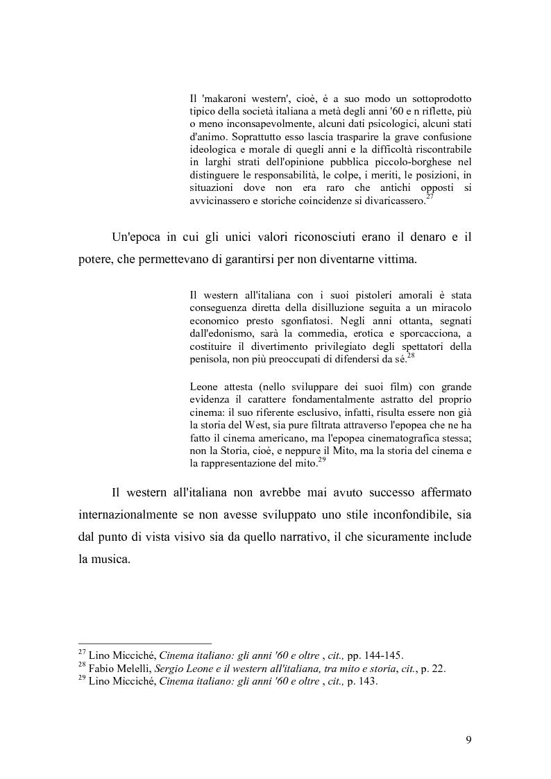 Anteprima della tesi: Musica Filmica Narrativa - Il rapporto tra musica e immagine nella trilogia del dollaro di Sergio Leone, Pagina 10