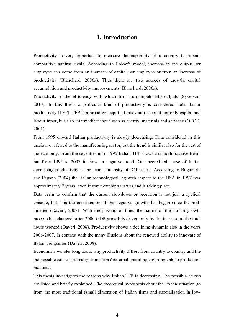 Anteprima della tesi: Why is Italian TFP decreasing? An Econometric Analysis Compares Italy with Other Three European Countries, Pagina 2